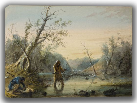 Miller, Alfred Jacob: Trapping Beaver. Fine Art Canvas. Sizes: A4/A3/A2/A1 (003841)